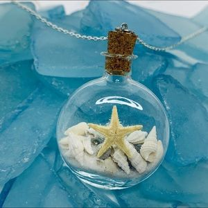 Real Miniature Seashells in Glass Bottle Necklace